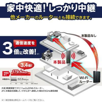 エレコム 無線LAN中継器 11ac.n.a.g.b 867+300Mbps ブラック 小型 WTC-1167US-B(1個)