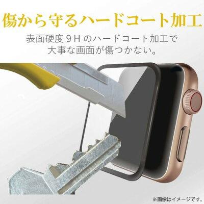 AppLe Watch 44mm フルカバーガラスフィルム 0.33mm ブラック AW-44FLGGRBK(1コ入)