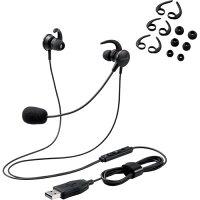 ELECOM 両耳耳栓タイプUSBヘッドセット HS-EP15UBK