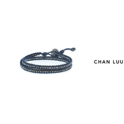 CHAN LUU/チャンルー ナゲット 2連ラップブレスレット BSM-1667 GUNMETA NATURAL BLUE