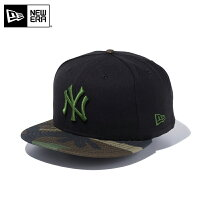 NEW ERA 9FIFTY スナップバックキャップ MLB ニューヨークヤンキース ブラック/ウッドランドカモ カモフラ 迷彩柄 11308470