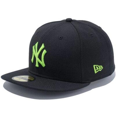 ニューエラ キャップ NEW ERA 59FIFTY ニューヨーク ヤンキース キャップ CAP 帽子 ブラック×ネオングリーン 11308570
