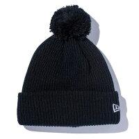 ニューエラ ニットキャップ NEW ERA ポンポンニット リブ編み ニットキャップ 帽子 POM-PON KNIT RIB 11322088 ブラック×ホワイトフラッグ
