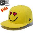 ニューエラ キッズ NEW ERA Kid's 9FIFTY スマイル ハート スナップバックキャップ 帽子 子供服 70347470 サイバーイエロー