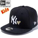ニューエラ キッズ NEW ERA Kid's 9FIFTY MLBハート ニューヨーク ヤンキース スナップバックキャップ 帽子 子供服 11409385 ブラック×ホワイト ゴールドハート