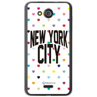 SECOND SKIN NYC マルチハートドットホワイト クリア design by Moisture / for S301/MVNOスマホ SIMフリー端末 MKY301-PCCL-277-Y278