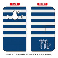 Coverfull 手帳型マリンボーダー ネイビー×ホワイト イニシャル M design by ARTWORK / for Disney Mobile on docomo F-03F/docomo DFJF3F-IJTC-401-MCQ8