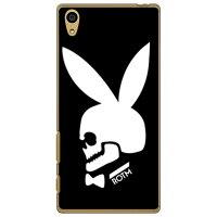 (スマホケース)Bunny bone ブラック (クリア)design by ROTM / for Xperia Z5 501SO/SoftBank (SECOND SKIN)