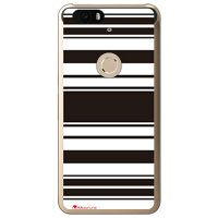 (スマホケース)Moisture Stripe ブラックホワイト (クリア)design by Moisture / for Nexus 6P H1512/SoftBank (SECOND SKIN)