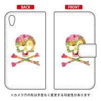 (スマホケース)手帳型スマートフォンケース Flower skull ホワイト design by ROTM / for Xperia Z5 SOV32/au (SECOND SKIN)