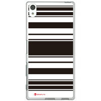 SECOND SKIN Moisture Stripe ブラックホワイト ソフトTPUクリア design by Moisture / for Xperia Z5 Premium SO-03H/docomo DSO03H-TPCL-777-J197