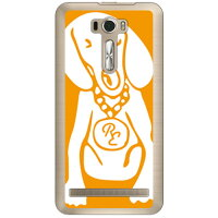 SECOND SKIN Dog オレンジ×ホワイト design by ROTM クリア / for ZenFone 2 Laser 6インチ ZE601KL/MVNOスマホ SIMフリー端末 MAS601-PCCL-202-Y185