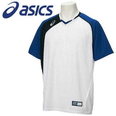 ASICS アシックス 野球 半袖Tシャツ ベースボールシヤツ メンズ ホワイトXロイヤル BAD017.0143