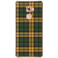 SECOND SKIN チェック グリーン×イエロー クリア / for Huawei Mate S CRR-L09/MVNOスマホ SIMフリー端末 MHWMTS-PCCL-298-Y250