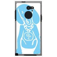 SECOND SKIN Dog ホワイト×サックスブルー design by ROTM ソフトTPUクリア / for arrows RM02/MVNOスマホ SIMフリー端末 MFJM02-TPCL-702-J158