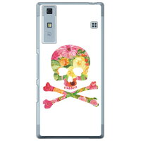 (スマホケース)Flower skull ホワイト (クリア)design by ROTM / for Qua phone KYV37/au (SECOND SKIN)