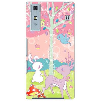 スマートフォンケース milk's design しらくらゆりこ  メルヘンな森  / qua phone v37/au
