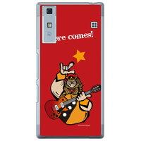 (スマホケース)Rockおやじ 赤 (クリア)design by Ringo / for Qua phone KYV37/au (Coverfull)