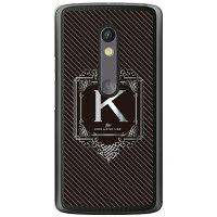 (スマホケース)Cf LTD ラグジュアリーイニシャル K シルバーグレー (クリア)/ for Moto X Play XT1562/MVNOスマホ(SIMフリー端末)(Coverfull)
