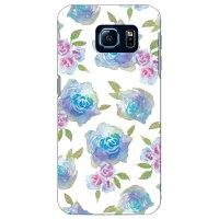 (スマホケース)Cf LTD 水彩 バラ ブルー / for Galaxy S6 SC-05G/docomo (Coverfull)