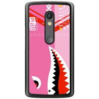 (スマホケース)シャーク ピンク (クリア)/ for Moto X Play XT1562/MVNOスマホ(SIMフリー端末)(YESNO)