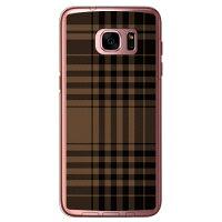 (スマホケース)チェック ブラウン×ブラック (クリア)/ for Galaxy S7 edge SC-02H・SCV33/docomo・au (SECOND SKIN)