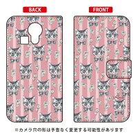 (スマホケース)手帳型スマートフォンケース 薔薇とねこ ピンク design by Ringo / for miraie KYL23/au (Coverfull)