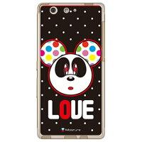 (スマホケース)Love Panda ホワイトドット (ソフトTPUクリア)design by Moisture / for arrows SV F-03H・M03/docomo・MVNOスマホ(SIMフリー端末)(SECOND SKIN)