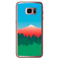 (スマホケース)グラデーションマウンテン レッド (クリア)/ for Galaxy S7 edge SC-02H・SCV33/docomo・au (Coverfull)