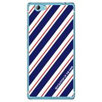 (スマホケース)ROTM Stripe ネイビー (クリア)design by ROTM / for SAMURAI 麗(REI)FTJ161B/MVNOスマホ(SIMフリー端末)(SECOND SKIN)