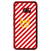 (スマホケース)ストライプ レッド×ホワイト (クリア)/ for HTC 10 HTV32/au (SECOND SKIN)