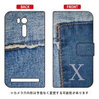 スマートフォンケース  手帳型 フォトデニム イニシャル X  ARTWORK /    ZenFone Go ZB551KL/MVNOスマホ  SIMフリー端末