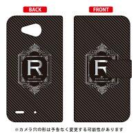 (スマホケース)手帳型スマートフォンケース Cf LTD ラグジュアリー イニシャル アルファベット R (シルバーグレー)/ for Qua phone PX LGV33/au (Coverfull)