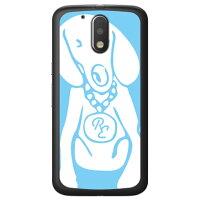 (スマホケース)Dog サックスブルー×ホワイト design by ROTM (ソフトTPUクリア)/ for Moto G4 Plus XT1644/MVNOスマホ(SIMフリー端末)(SECOND SKIN)