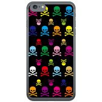 (スマホケース)Skull monogram ブラック マルチ (クリア)design by ROTM / for iPhone 7/Apple (SECOND SKIN)