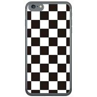 スマートフォンケース  チェッカーフラッグ ブラック×ホワイト   ソフトTPUクリア   iPhone 7/Apple