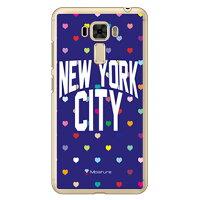 スマートフォンケース  NYC マルチハートドットネイビー クリア Moisture /    ZenFone 3 Laser ZC551KL/MVNOスマホ  SIMフリー端末