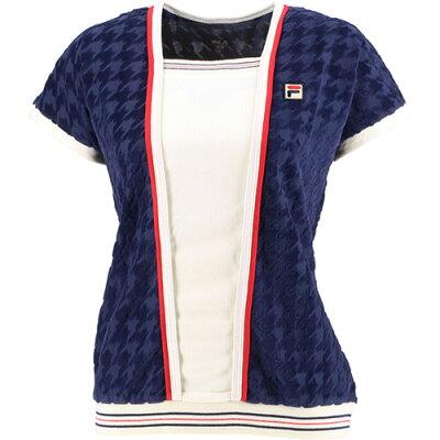 フィラ FILA レディース テニス ジャガードベロアシャツ フィラネイビー VL2037 20