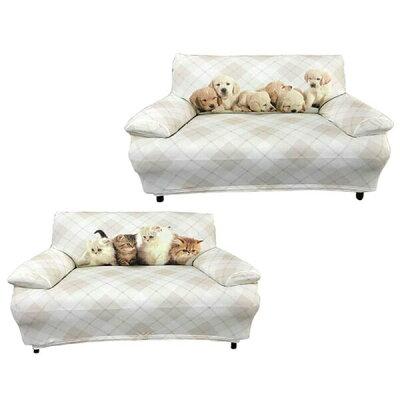 ソファーカバー 3人掛け プリントソファーカバー キャット 犬 デジダルプリント