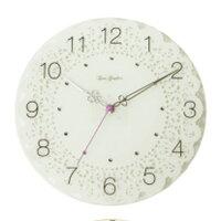 スターライン ZWG-1130 ホワイト ガラスレースクロック 掛け時計 強化ガラス/アクリルストーン