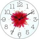 スターライン SW-1186RD 黒文字・レッド/赤花 アートフラワークロック 掛時計 ガラス/造花/アクリルストーン