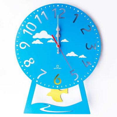 ヤマト工芸 振り子時計 CHILD clock YK14-104-Lbl ハト ライトブルー