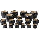 陶器植木鉢18点セット 受皿付 ブラック UH08 3DBK-6