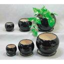 陶器植木鉢6点セット 受皿付 ブラック UH05 3DBK-2