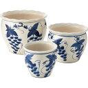 陶器植木鉢3点セット白・青