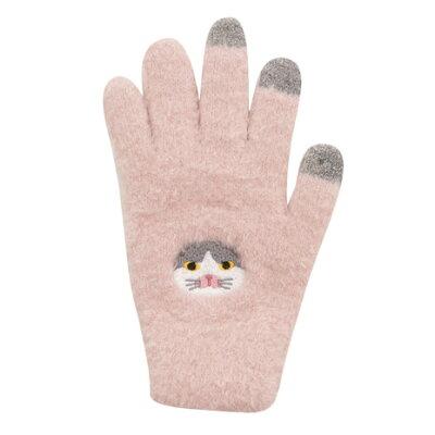 スコティッシュフォールド スマホ手袋 ピンク キャット 猫柄 ネコ 猫雑貨