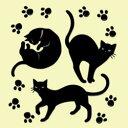 高蒔絵シール 611黒ネコ足跡