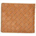 良品工房 日本製牛革編込二折れ財布 キャメル J17-232CA
