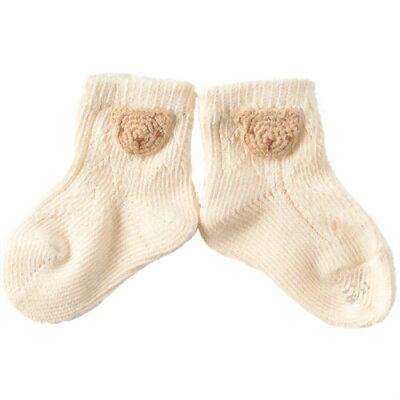 アモローサマンマ天使の糸 編みモチーフのオーガニックソックス クマ 9-11サイズ(1足)