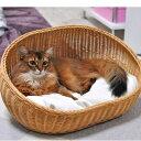 ラタンオーバルベッド ブラウン キャラメル クッション付 体重8kgまでの猫ちゃんや超小型犬~小型犬に  ラタンのペット用ベッド